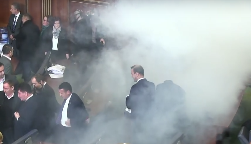 Screen Shot 2015 12 16 at 00.02.25 Kosovan Parliament Is Halted With Tear Gas, Again