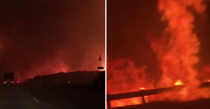 california fire FB Mobile Phone Footage Shows Terrifying Moment Family Drove Through California Wildfire
