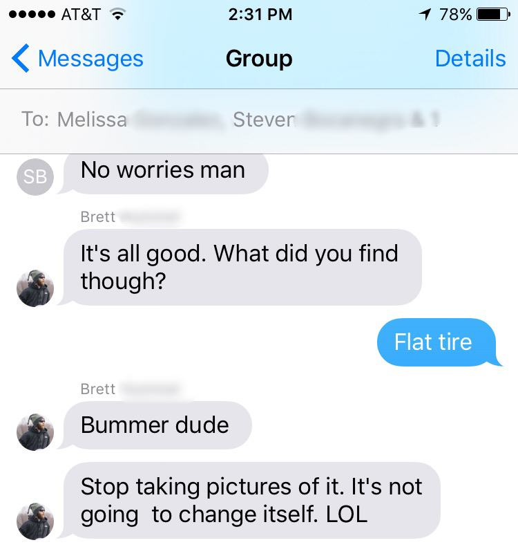 Guy Gets Flat Tire, Takes Opportunity To Troll The Sh*t Out Of His Mates 2