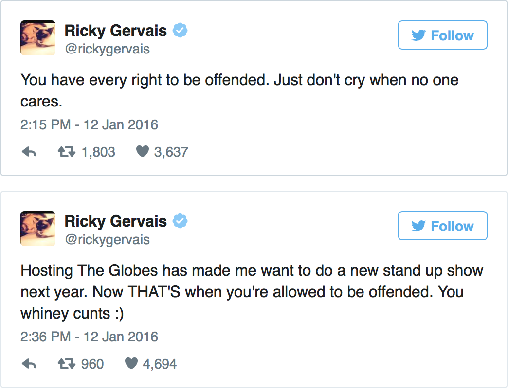 L6JZuGd Did Ricky Gervais Go Too Far At The Golden Globes Or Are People Oversensitive?