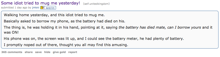 British People Tell Hilarious Stories About Failed Muggings On Reddit Screen Shot 2016 01 06 at 22.27.33