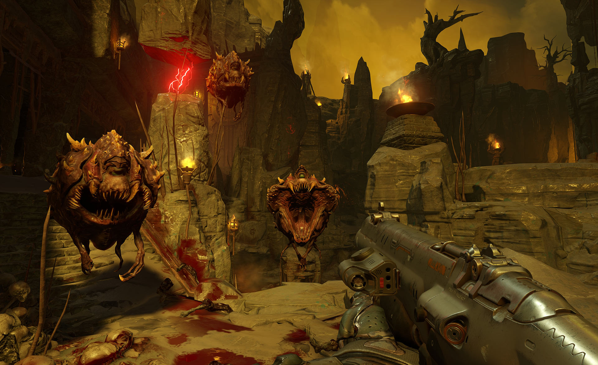 doom cacodemons screenshot 1920.0 DOOM Higher Difficulty And Non Linear Exploration Confirmed