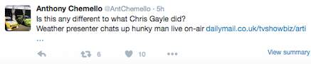 gayle10 If Chris Gayle Is Fined $10,000 For Flirting, Why Is Nuala Hafner Praised?