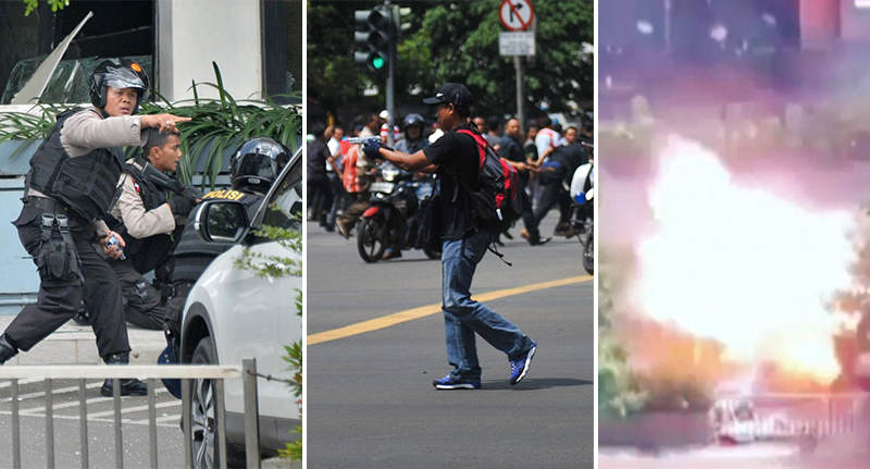 jakarta FB Shocking Moment A Jakarta Suicide Bomber Blows Himself Up