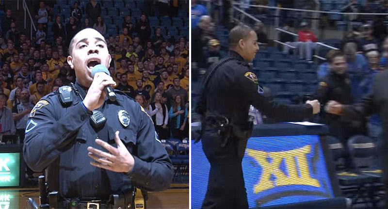 police anthem FB Policeman Gives Incredible Rendition Of National Anthem After Singer Gets Stuck In Snowstorm