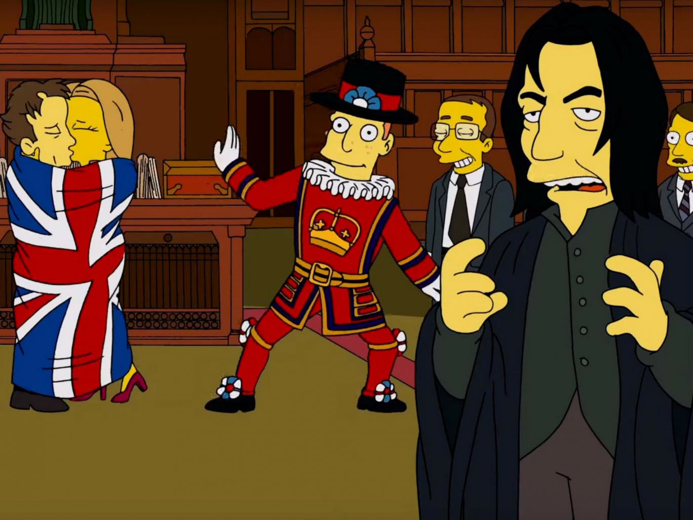 The Simpsons Pay Tribute To Alan Rickman and David Bowie In Brilliantly British Clip the simpsons