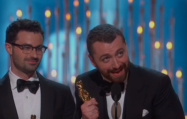 Screen Shot 2016 02 29 at 15.09.08 Sam Smith Gets Shut Down After Massive Oscar Acceptance Speech Mistake