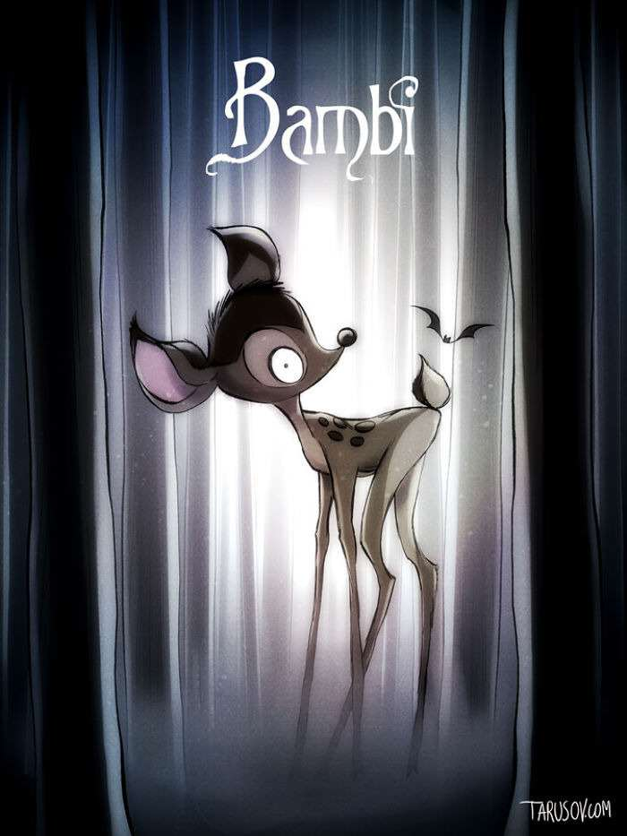 bambi Delightfully Creepy Reimaginings Of Disney Classics As Tim Burton Films