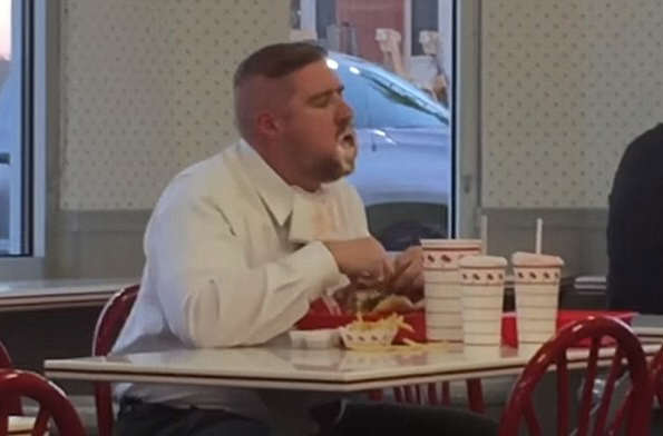 burger2 This Guy Eating His Massive In N Out Meal Is Absolutely Loving Life