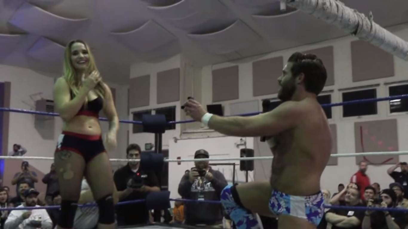 joey ryan proposal YouPorn Wrestler Proposes To His Girlfriend During Their Match