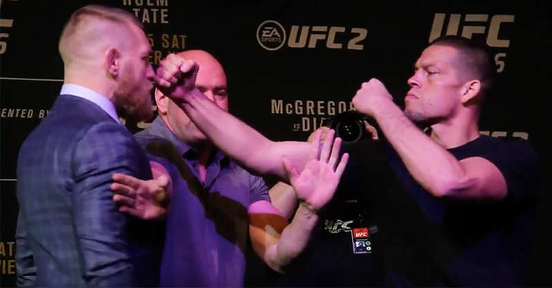 Conor McGregor And Nate Diaz Brawl At Pre Fight Presser gregs