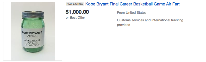 Screen Shot 2016 04 18 at 15.10.42 People Are Seriously Bidding On Air From Kobe Bryants Last Game