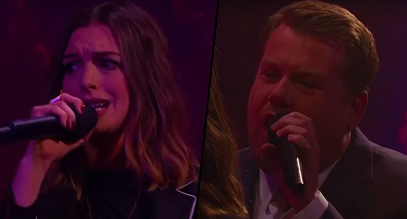 FaceThumb james 1 James Corden And Anne Hathaway Have Epic Rap Battle