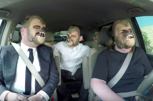 Screen Shot 2016 05 24 at 12.17.20 Chewbacca Mom Drives James Corden To Work, Hilarity Ensues