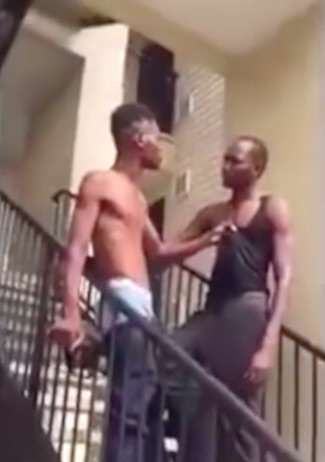 choke4 Bully Gets Insanely Brutal Choke Slam Knockout Down Flight Of Stairs