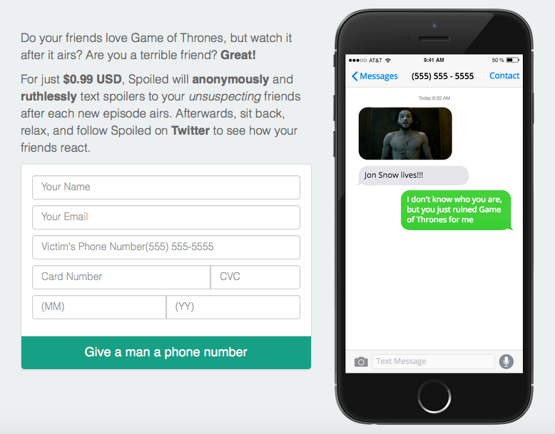 Screen Shot 2016 06 23 at 15.53.00 This App Sends Anonymous Game Of Thrones Spoilers To Your Enemies