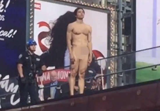 trump1 Naked Times Square Donald Trump Protester Is Actually Famous Model