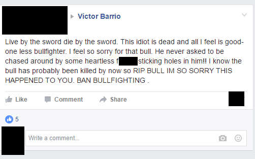 victor1 Trolls Mock Death Of Bullfighter On His Own Facebook Page
