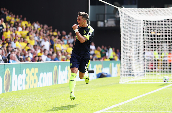 Ozil Getty vs Watford Mesut Ozil Confirms Role As King Of Assists With Ultimate Gesture