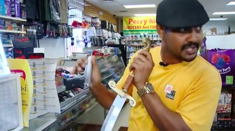 sword3 Shopkeeper Pulls Out Huge Scimitar To Have Swordfight With Robber