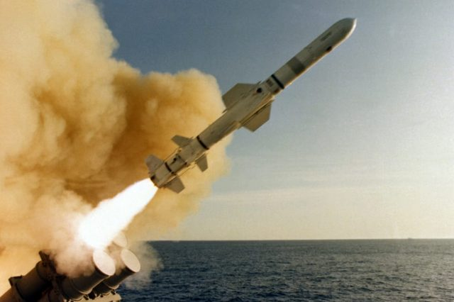 Missiles Fired At U.S. Warship Sparks New World War Fears 62401UNILAD imageoptim AGM 84 Harpoon launched from USS Leahy CG 16 640x426