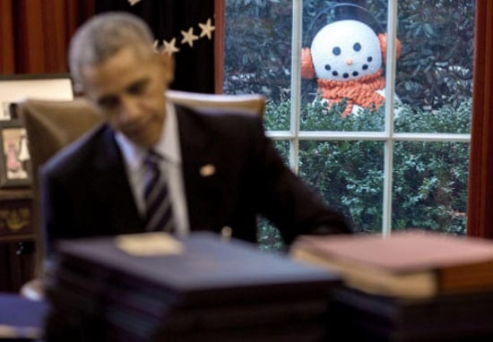 White House Staffers Played A Really Creepy Snowman Prank On Obama