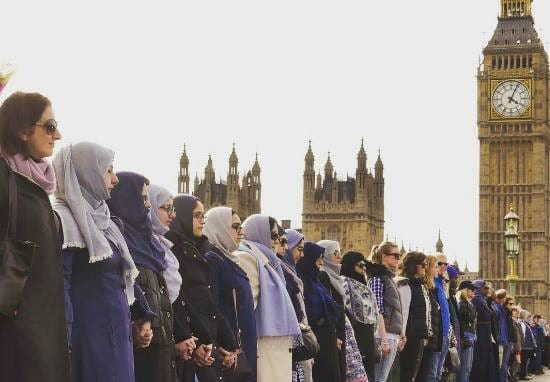 Muslim Women Gather On Westminster Bridge To Condemn Terror Attack